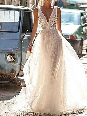 cheap Wedding Dresses-A-Line Wedding Dresses V Neck Floor Length Tulle Regular Straps Boho Illusion Detail Plus Size Backless with Appliques 2020