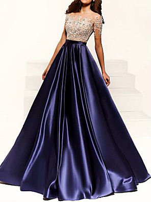 cheap Prom Dresses-A-Line Color Block Blue Engagement Formal Evening Dress Illusion Neck Short Sleeve Floor Length Satin with Beading Appliques 2020