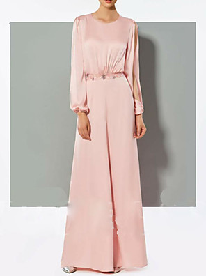 cheap Evening Dresses-Pantsuit / Jumpsuit Mother of the Bride Dress Jumpsuits Jewel Neck Floor Length Chiffon Long Sleeve with Crystals 2020
