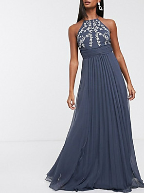 cheap Wedding Dresses-A-Line Elegant Prom Formal Evening Dress Halter Neck Sleeveless Floor Length Chiffon with Pleats Embroidery 2020