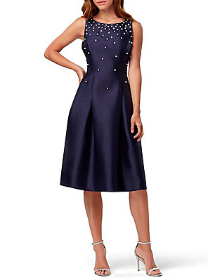 cheap Bridesmaid Dresses-A-Line Elegant Holiday Cocktail Party Dress Jewel Neck Sleeveless Knee Length Satin with Pleats Beading Sequin 2020