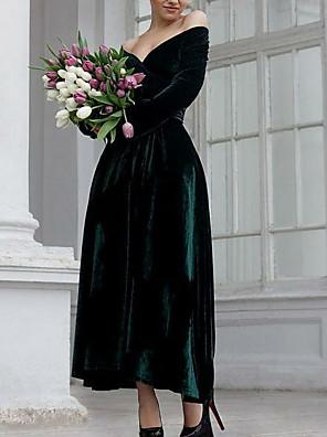 cheap Wedding Dresses-A-Line Elegant Prom Formal Evening Dress Off Shoulder Long Sleeve Ankle Length Velvet with 2020