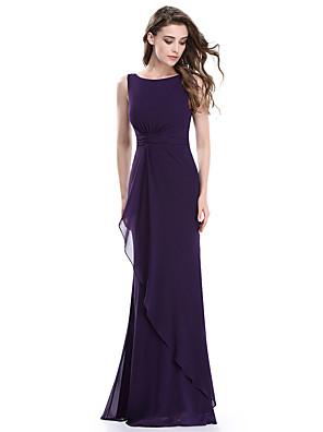 cheap Evening Dresses-Mermaid / Trumpet Elegant Formal Evening Dress Jewel Neck Sleeveless Floor Length Lace with 2020