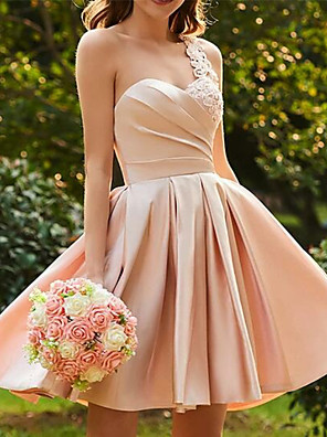 cheap Wedding Dresses-Back To School A-Line Hot Pink Wedding Guest Cocktail Party Dress One Shoulder Sleeveless Short / Mini Satin with Pleats Appliques 2020 Hoco Dress