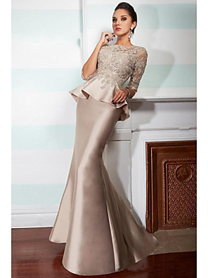 cheap Evening Dresses-Mermaid / Trumpet Elegant Two Piece Formal Evening Dress Jewel Neck 3/4 Length Sleeve Floor Length Satin with Ruffles Appliques 2020