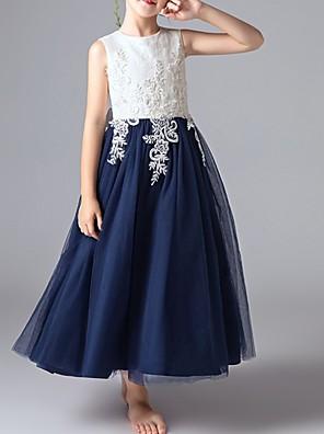 cheap Girls' Dresses-Kids Girls' Color Block Dress Beige