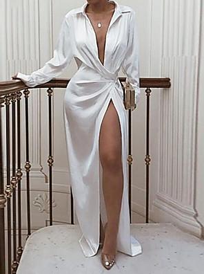 cheap Print Dresses-Women's Sheath Dress Maxi long Dress - Long Sleeve Solid Colored Summer Fall Shirt Collar Party Sexy Club 2020 White Black Red S M L XL