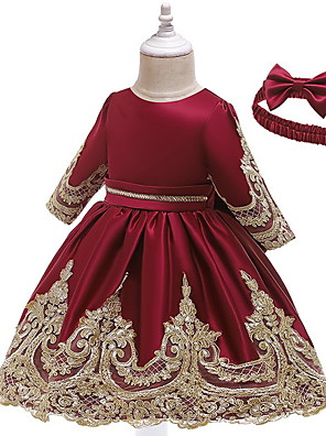 cheap Girls' Dresses-Baby Girls' Basic Solid Colored Long Sleeve Dress Wine