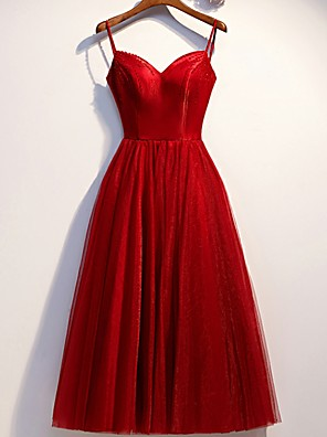 cheap Cocktail Dresses-Back To School A-Line Elegant Holiday Cocktail Party Dress Spaghetti Strap Sleeveless Knee Length Velvet with Beading 2020 Hoco Dress