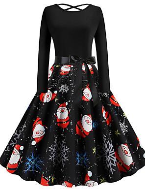 baratos Vestidos de Mulher-Mulheres Vestido Swing Vestido no Joelho - Manga Longa Floral Estampado Elegante Natal Festa Preto S M L XL XXL