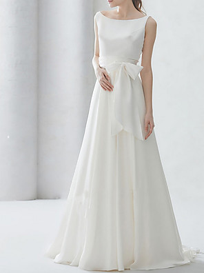 cheap Prom Dresses-A-Line Wedding Dresses Bateau Neck Sweep / Brush Train Chiffon Regular Straps Simple Elegant with Bow(s) 2020