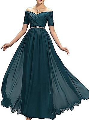 cheap Prom Dresses-A-Line Empire Blue Wedding Guest Formal Evening Dress Off Shoulder Short Sleeve Floor Length Polyester with Ruched Crystals 2020