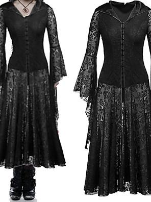 cheap Wedding Dresses-Witch Retro Vintage Victorian Dress Masquerade Women's Cotton Costume Black Vintage Cosplay Party Halloween