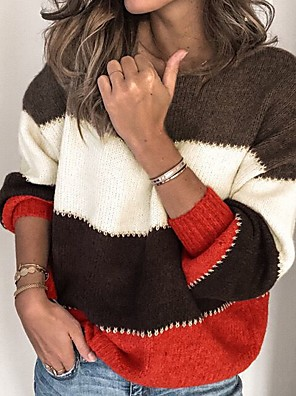 cheap Women's Tops-Women's Striped Pullover Long Sleeve Sweater Cardigans Round Neck Brown