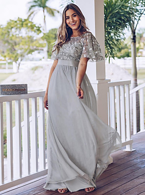 cheap Evening Dresses-A-Line Elegant & Luxurious Formal Evening Dress Jewel Neck Short Sleeve Floor Length Chiffon Tulle with Lace Insert 2020