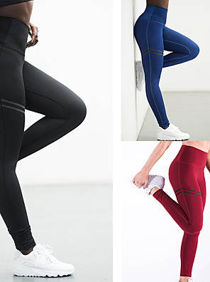 cheap Women's Yoga Pants-Women's High Waist Yoga Pants Tights Leggings Tummy Control Butt Lift Quick Dry Stripes Red Blue Green Gym Workout Exercise & Fitness Running Summer Sports Activewear High Elasticity Skinny