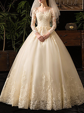 cheap Wedding Dresses-A-Line Wedding Dresses Scoop Neck Floor Length Lace Long Sleeve Glamorous See-Through Illusion Sleeve with 2020