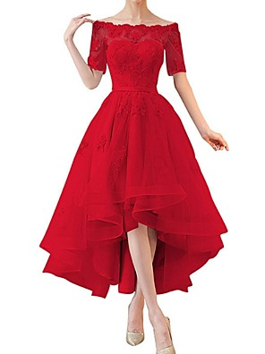 cheap Prom Dresses-A-Line Hot Red Cocktail Party Prom Dress Off Shoulder Short Sleeve Asymmetrical Lace with Sequin Tier Lace Insert 2020
