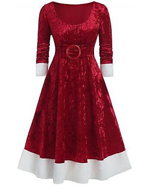 cheap Women's Dresses-Women's A-Line Dress Midi Dress - 3/4 Length Sleeve Solid Colored Elegant Christmas Party Blue Purple Red S M L XL XXL XXXL XXXXL XXXXXL