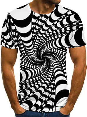 cheap Men's Tops-Men's T shirt Graphic 3D Plus Size Print Short Sleeve Casual Tops Streetwear Exaggerated Black Blue Purple