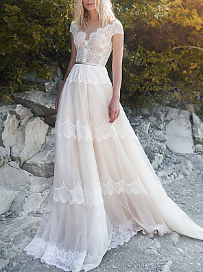 cheap Wedding Dresses-A-Line Wedding Dresses V Neck Sweep / Brush Train Tulle Cap Sleeve Illusion Detail Backless with Sashes / Ribbons 2020