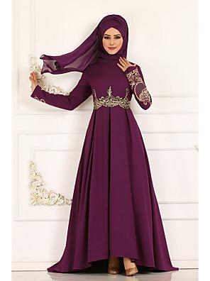 cheap Women's Dresses-Women's Maxi Swing Dress - Long Sleeve Floral Print Elegant Wine Blue Fuchsia Green S M L XL XXL XXXL