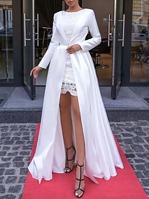 cheap Evening Dresses-Sheath / Column Elegant Formal Evening Dress Jewel Neck Long Sleeve Floor Length Lace Satin with 2020
