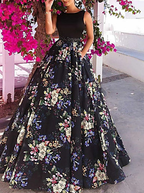 cheap Evening Dresses-A-Line Floral Prom Formal Evening Dress Jewel Neck Sleeveless Floor Length Satin with Beading Pattern / Print 2020