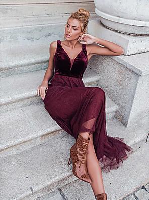 cheap Prom Dresses-A-Line Elegant Formal Evening Dress V Neck Sleeveless Floor Length Lace Velvet with 2020