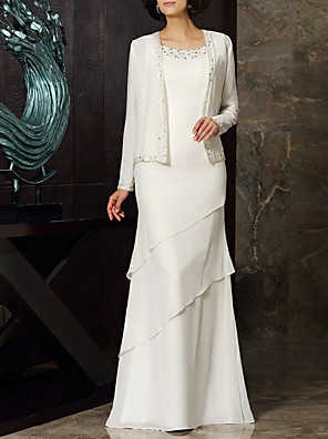 cheap Prom Dresses-Sheath / Column Mother of the Bride Dress Elegant & Luxurious Jewel Neck Floor Length Chiffon Long Sleeve with Beading Tier 2020