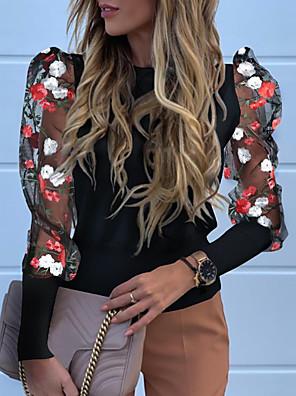 cheap Women's Blouses & Shirts-Women's T-shirt Floral Tops Black