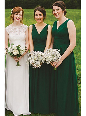 cheap Bridesmaid Dresses-A-Line V Neck Floor Length Chiffon Bridesmaid Dress with Ruching / Pleats