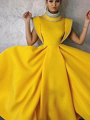 cheap Evening Dresses-A-Line Vintage Yellow Party Wear Formal Evening Dress High Neck Sleeveless Tea Length Satin with Beading 2020