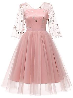 cheap Women's Dresses-Women's A Line Dress - Half Sleeve Floral V Neck Blushing Pink Beige S M L XL XXL