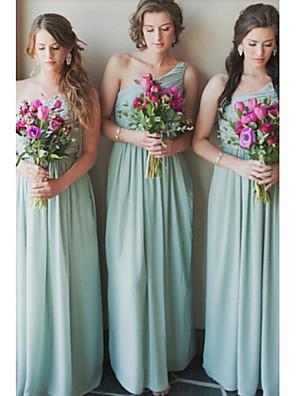 cheap Bridesmaid Dresses-A-Line One Shoulder Floor Length Chiffon Bridesmaid Dress with Sash / Ribbon / Pleats