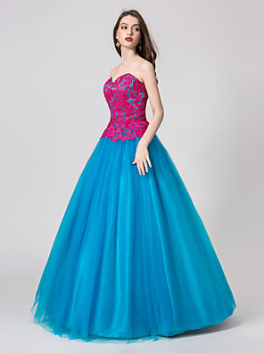cheap Maxi Dresses-Ball Gown Color Block Prom Formal Evening Dress Sweetheart Neckline Sleeveless Floor Length Tulle with Crystals Pattern / Print 2020