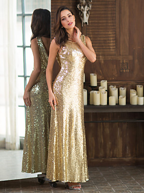 cheap Cocktail Dresses-Sheath / Column Beautiful Back Gold Party Wear Formal Evening Dress Scoop Neck Sleeveless Floor Length Sequined with Sequin 2020