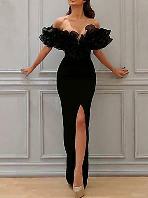 cheap Evening Dresses-Sheath / Column Elegant Prom Formal Evening Dress Off Shoulder Short Sleeve Floor Length Chiffon with Split Front Cascading Ruffles 2020