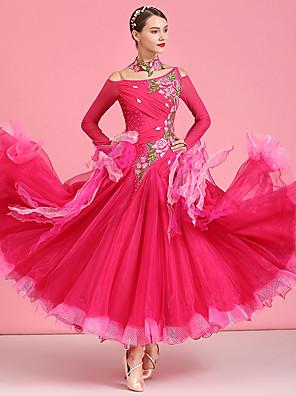 cheap Wedding Dresses-Ballroom Dance Dress Appliques Crystals / Rhinestones Women's Performance Long Sleeve High Organza Tulle Spandex