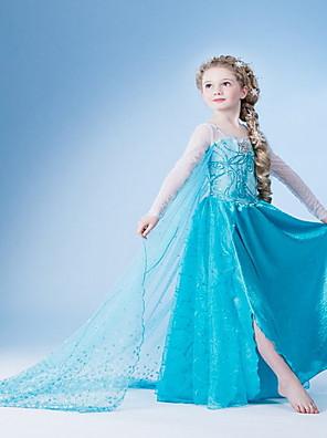 cheap Girls' Dresses-Kids Girls' Solid Colored Dress Light Blue
