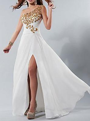 cheap Evening Dresses-A-Line Elegant Formal Evening Dress One Shoulder Sleeveless Floor Length Satin with Beading Appliques Split Front 2020