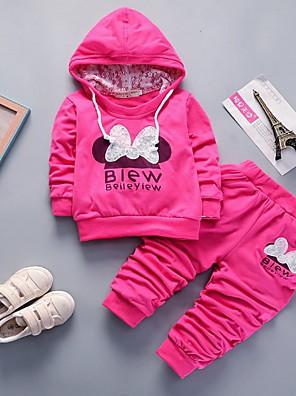 povoljno Kompletići za bebe-Dijete Djevojčice Ulični šik Print Dugih rukava Regularna Komplet odjeće Fuksija
