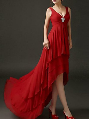 cheap Prom Dresses-A-Line Hot Red Engagement Formal Evening Dress V Neck Short Sleeve Asymmetrical Chiffon with Crystals Tier 2020