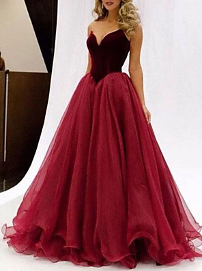 cheap Evening Dresses-A-Line Color Block Prom Formal Evening Dress Sweetheart Neckline Sleeveless Floor Length Tulle with Cascading Ruffles 2020
