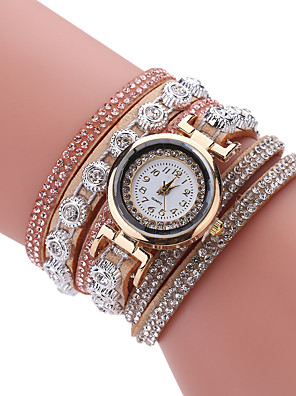 cheap Bracelet Watches-Women's Bracelet Watch Cubic Zirconia Casual Elegant Blue Khaki PU Leather Quartz Light Brown Lace Blue Casual Watch Imitation Diamond 1 pc Analog One Year Battery Life