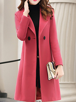 cheap Women's Coats & Trench Coats-Women's Daily Long Coat, Solid Colored Turndown Long Sleeve Polyester Orange / Army Green / Royal Blue