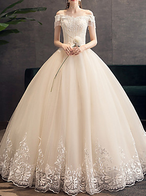 cheap Wedding Dresses-Ball Gown Wedding Dresses Off Shoulder Floor Length Tulle Short Sleeve Glamorous Modern with Appliques 2020