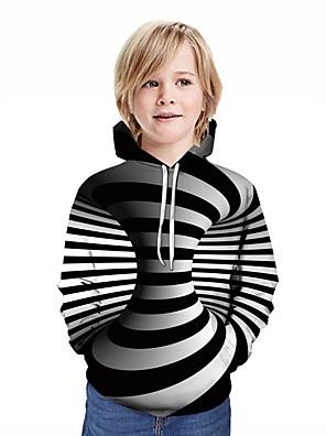 povoljno Majice s kapuljačama i trenirke za dječake-Djeca Dječaci Aktivan Ulični šik Geometrijski oblici 3D Kolaž Print Dugih rukava Trenirka s kapuljačom Crn