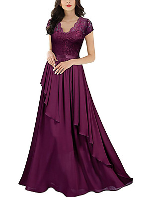 cheap Prom Dresses-A-Line Elegant Purple Wedding Guest Formal Evening Dress Scalloped Neckline Short Sleeve Floor Length Polyester with Draping Tier Lace Insert 2020