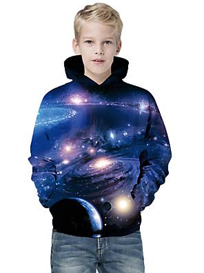 povoljno Majice s kapuljačama i trenirke za dječake-Djeca Dječaci Aktivan Osnovni Geometrijski oblici Galaksija Color block Print Dugih rukava Trenirka s kapuljačom Plava